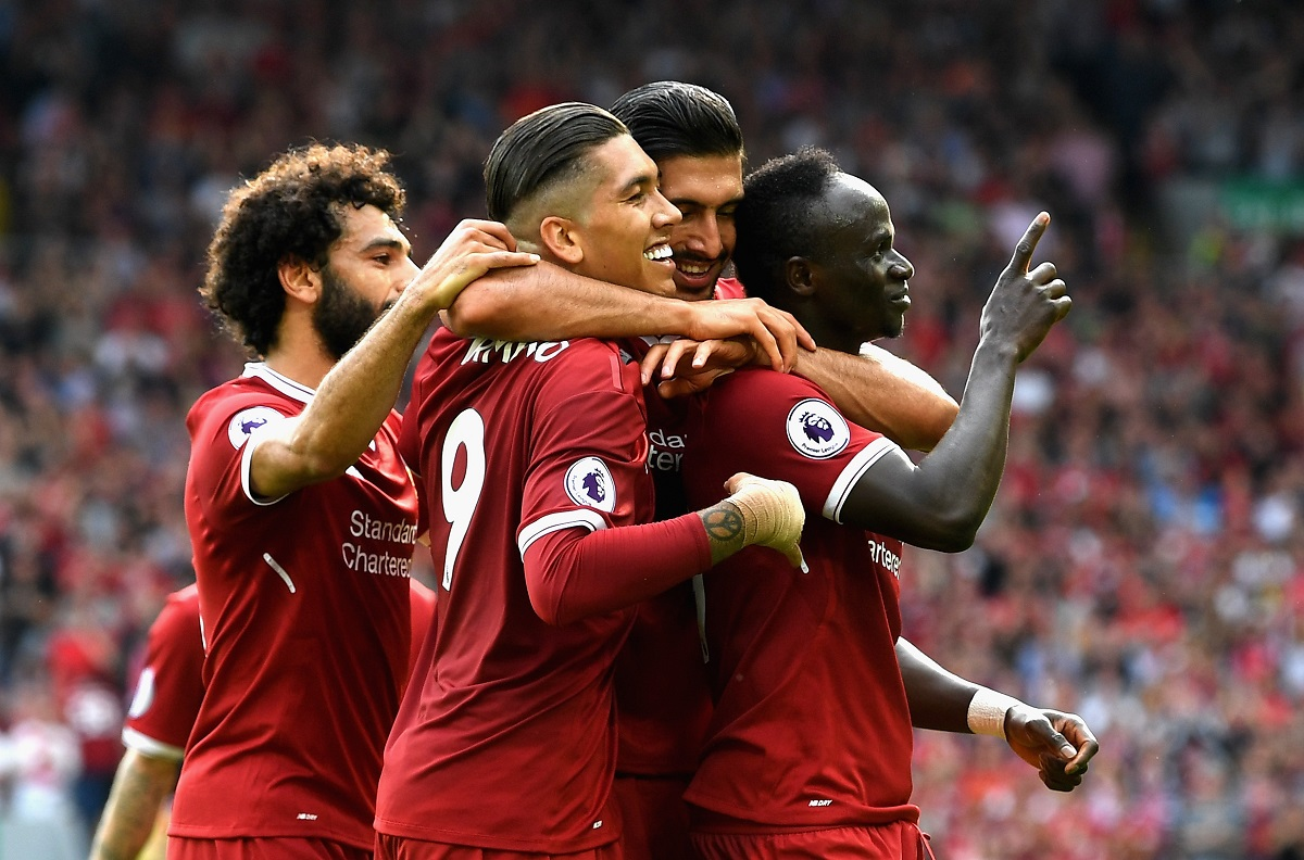LIVERPOOL, ENGLAND - AUGUST 27:  Sadio Mane of Liverpool celebrates scoring his sides second goal with his Liverpool team mates during the Premier League match between Liverpool and Arsenal at Anfield on August 27, 2017 in Liverpool, England.  (Photo by Michael Regan/Getty Images)